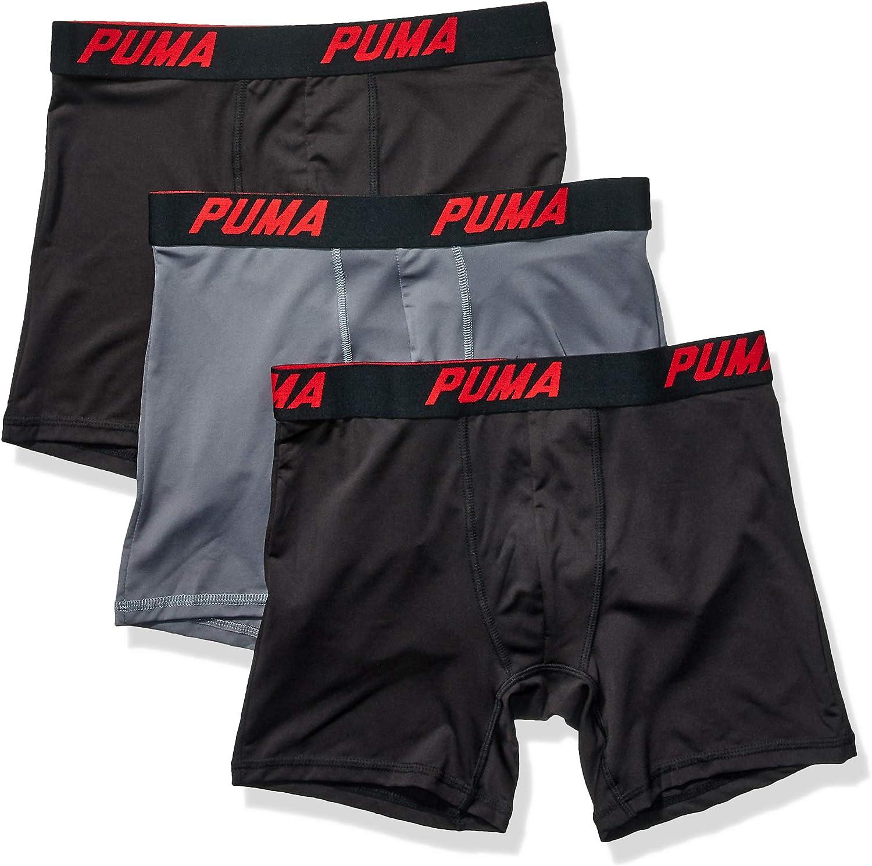 Black Gray Men/'s Puma 3 Pack Boxer Briefs Size Medium in 3 colors  Red