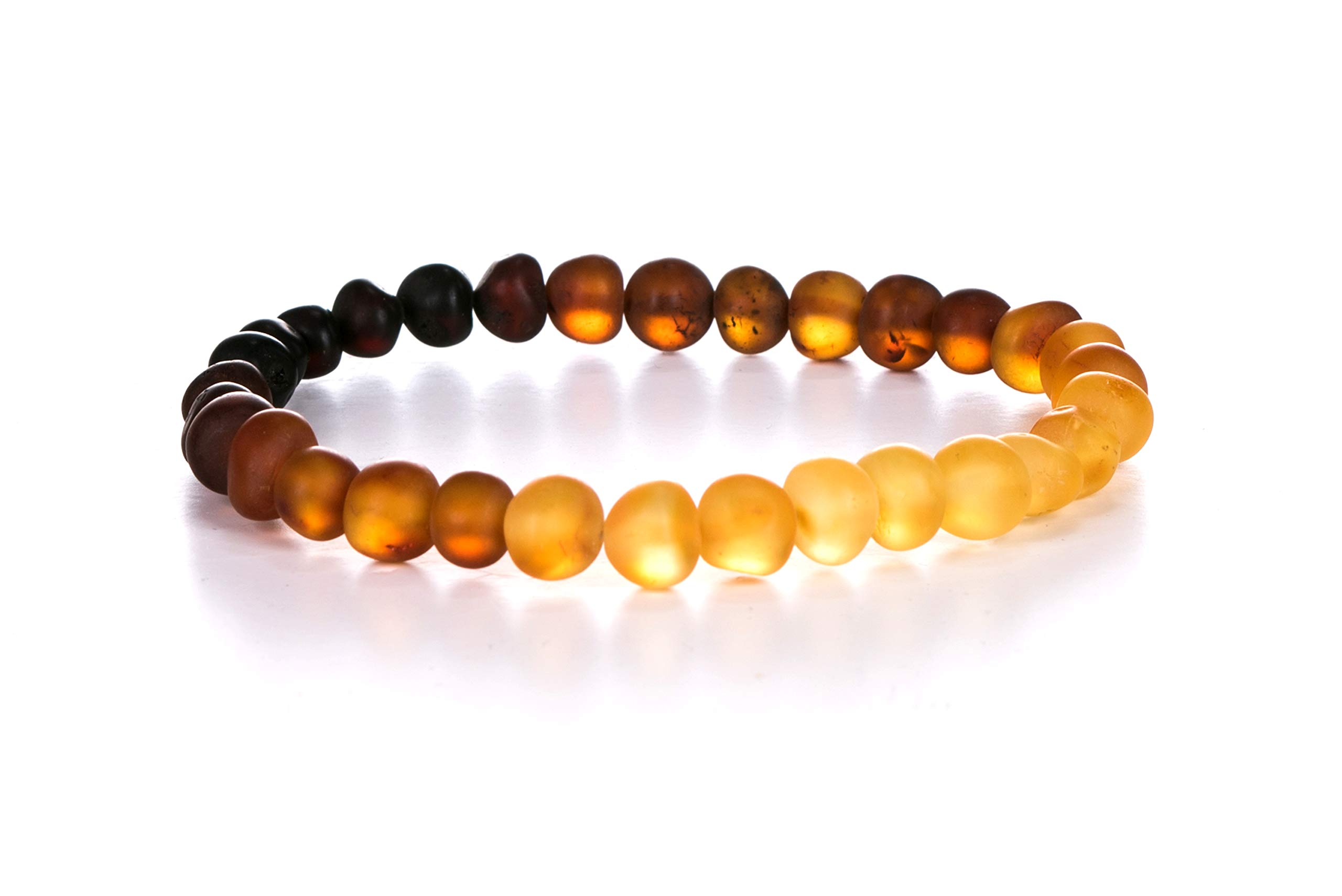 AMBERAGE Natural Baltic Amber Bracelet for Adults (Women/Men) - Hand Made from Raw-Unpolished/Certified Baltic Amber Beads(6 Colors) (7, Raw-Unpolished Rainbow) by AMBERAGE