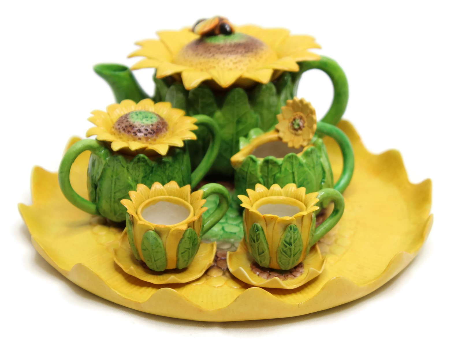 Unique Design Porcelain Miniature Tea Set –Sun Flower- for Home, Fairy Garden, Mini Garden, and Dollhouse Decoration, Collectible Item.