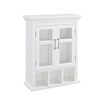 . Simpli Home Avington 30 inch H x 23 6 inch W Two Door Wall Bath Cabinet  with Cubbies in White