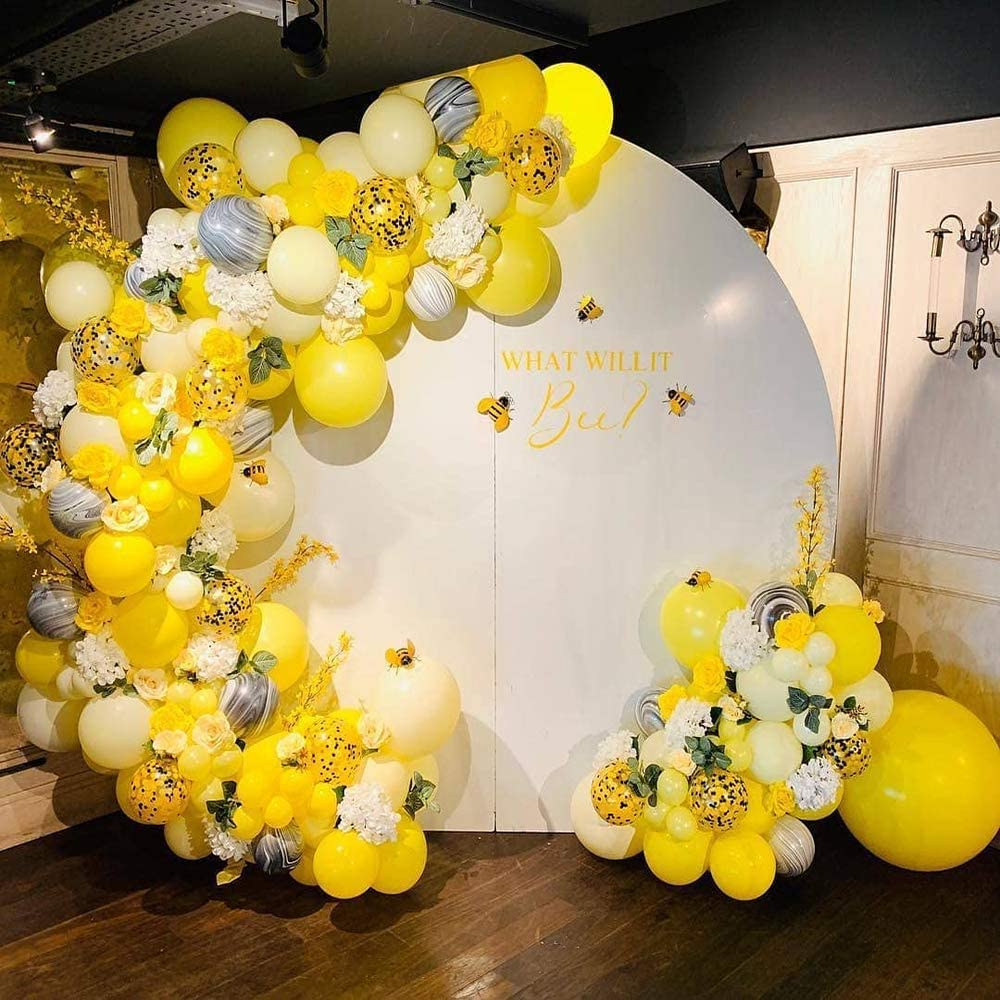 Bee Balloons Garland & Arch Kit, 122pcs Honeybee Theme Party Decorations Supplies, White Yellow Agate and Confetti Latex Balloons for Wedding Birthday Bridal Baby Shower Anniversary Organic Party
