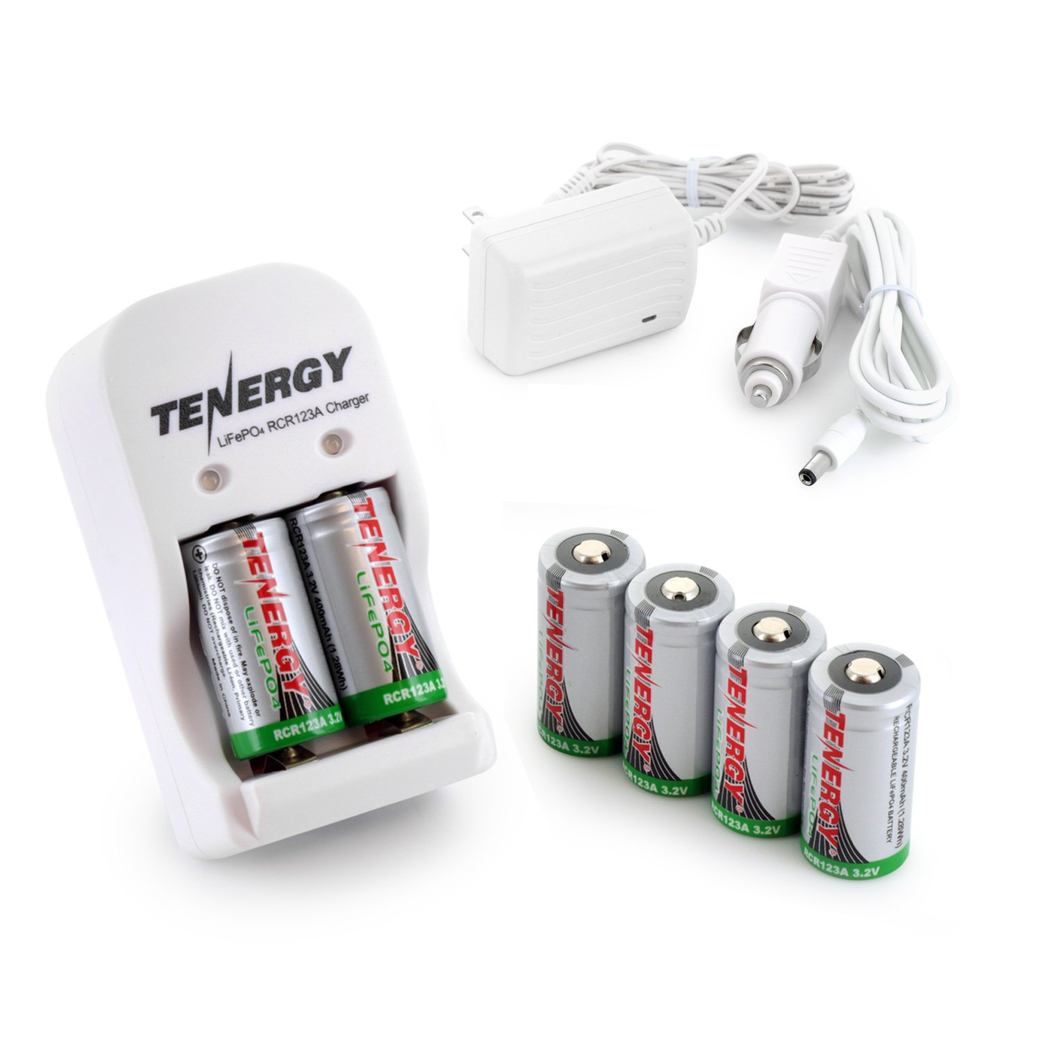Box: Smart Charger + 6 pcs RCR123A 3.0V (3.2V NOM) 400mAh LiFePO4 Rechargeable Batteries
