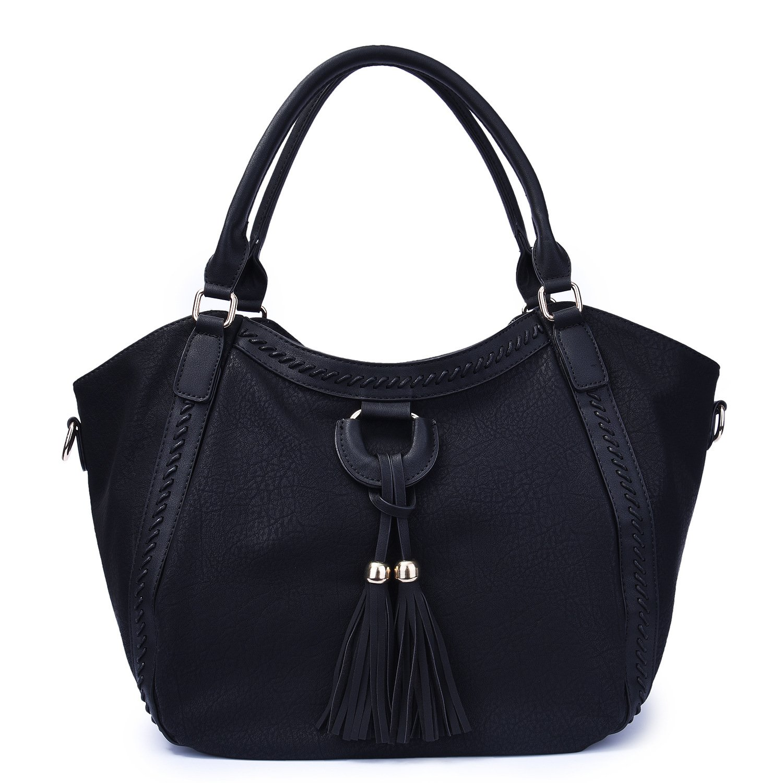 Mn&Sue Women's Hobo Handbag Leather Shoulder Tote Purse Large Top Handle Satchel Roomy Beach Bag with Tassel (Black)