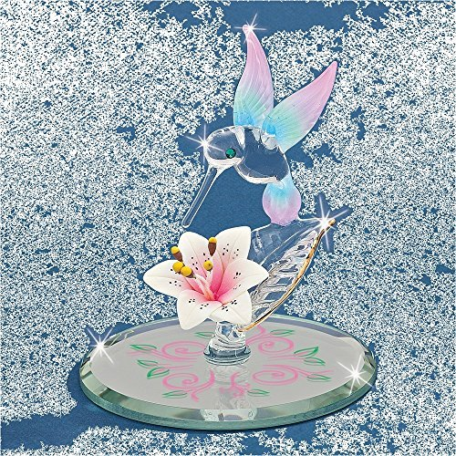 Rose Design Glass Candy (Cotton Candy Hummingbird w/Flower Glass Figurine)
