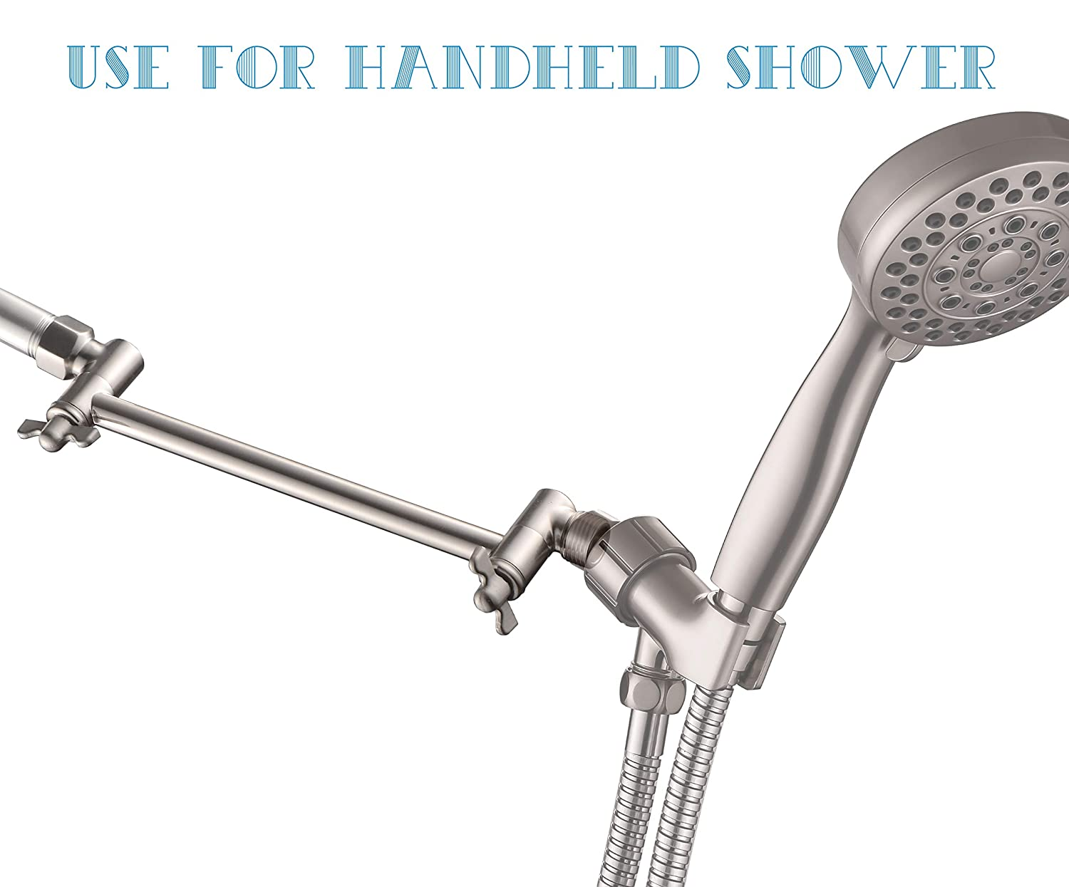 1//2 Pipe NPT Standard FATCAMEL 12-inch Brushed Nickel Shower Arm with Flange