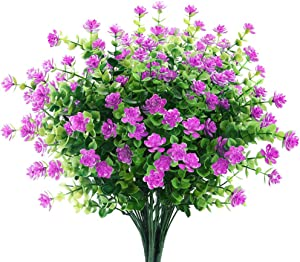 6 Bundles Artificial Flowers Outdoor Fake Flowers for Decoration UV Resistant No Fade Faux Plastic Plants Garden Porch Window Box Décor (Orchid)