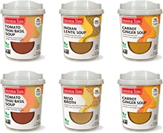 product image for Nona Lim Heat & Sip Cups, Vegan Soup Sampler Variety Pack - Vegan, Gluten Free, Dairy Free (10 oz, 6 count) - Packaging May Vary