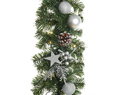 1 8m Pre Lit Led Christmas Garland Decorated With Silver Baubles