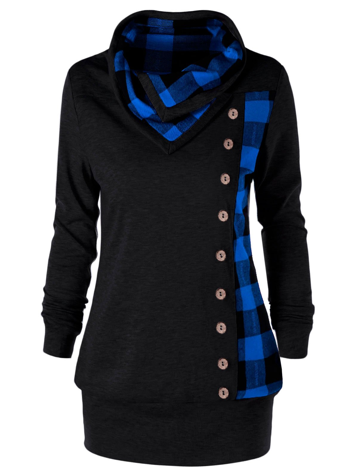 YTJH Women's Plus Size Cowl Neck Single Breasted Long Sleeves Plaid Sweatshirt(Blue,3XL) by YTJH