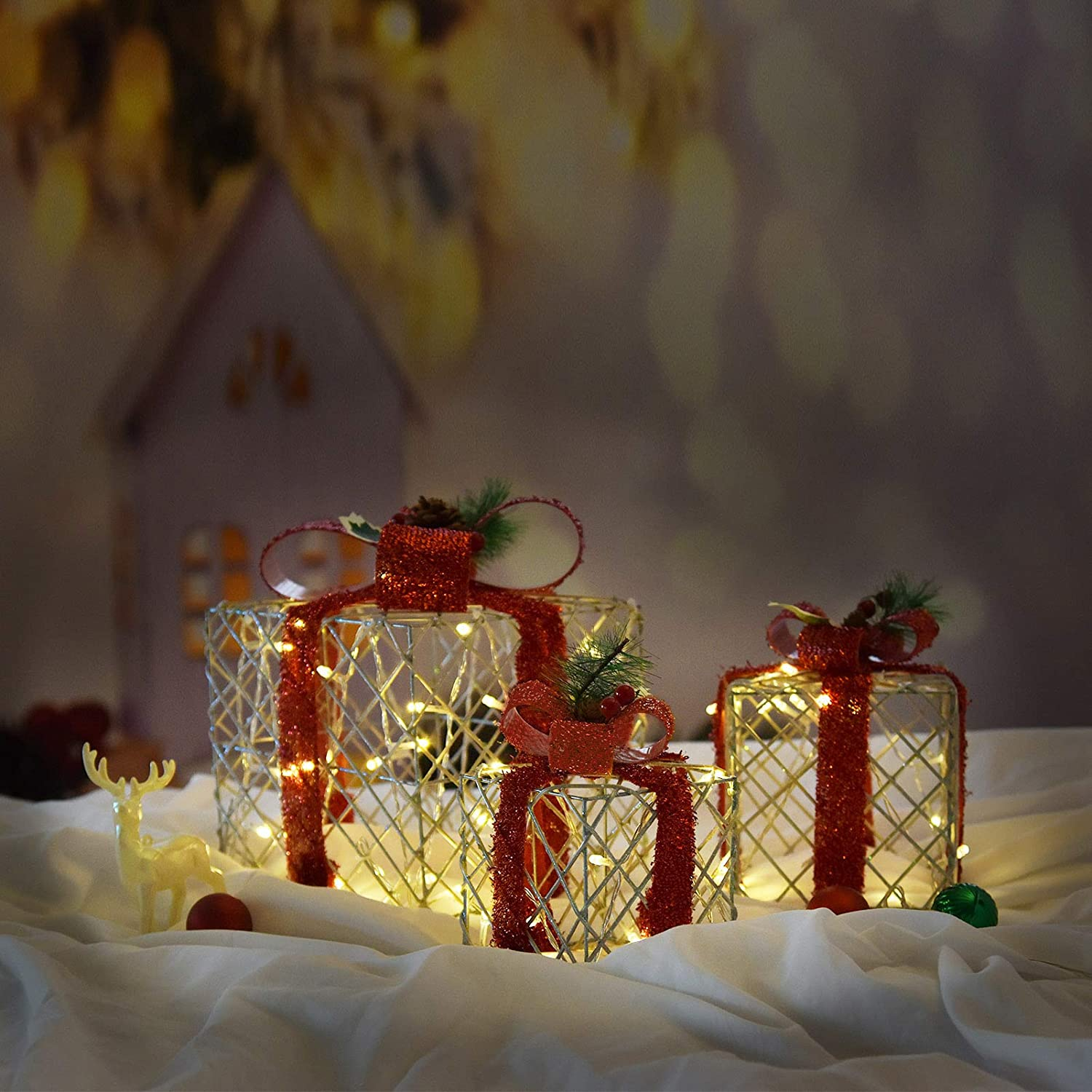 Set of 3 Christmas Lighted Gift Boxes Decorations with 48 Lights, Small Medium and Large Present Boxes for Indoor and Outdoor Yard/Lawn Use(Twisted Vines)