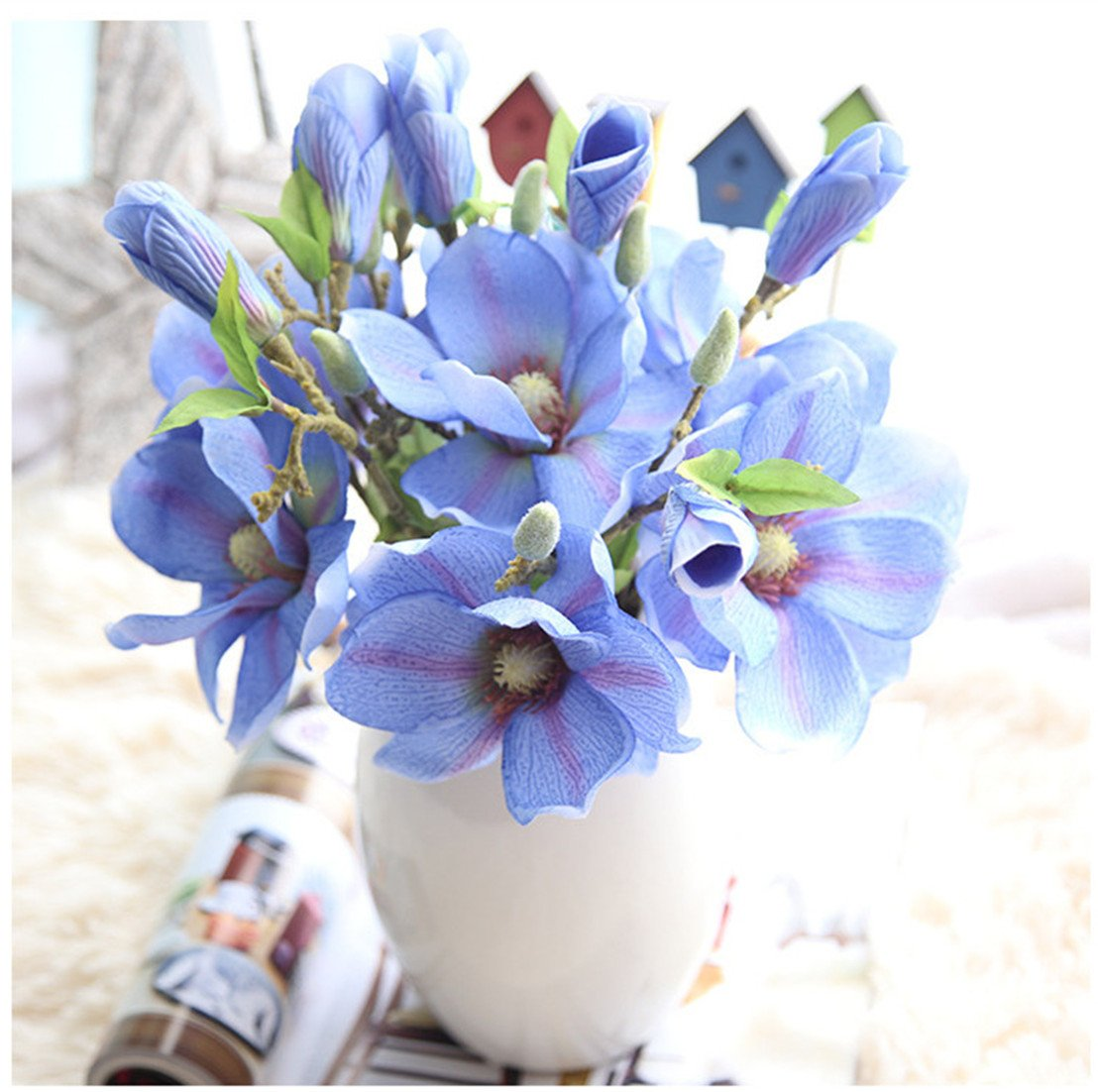 Mynse 5 Pieces Fake Flowers Magnolia Denudata For Home Birthday