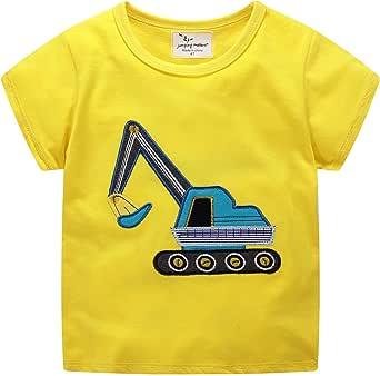 Baby Boy Embroidery Excavator Cotton Short Sleeve Round Neck Toddler T-Shirt