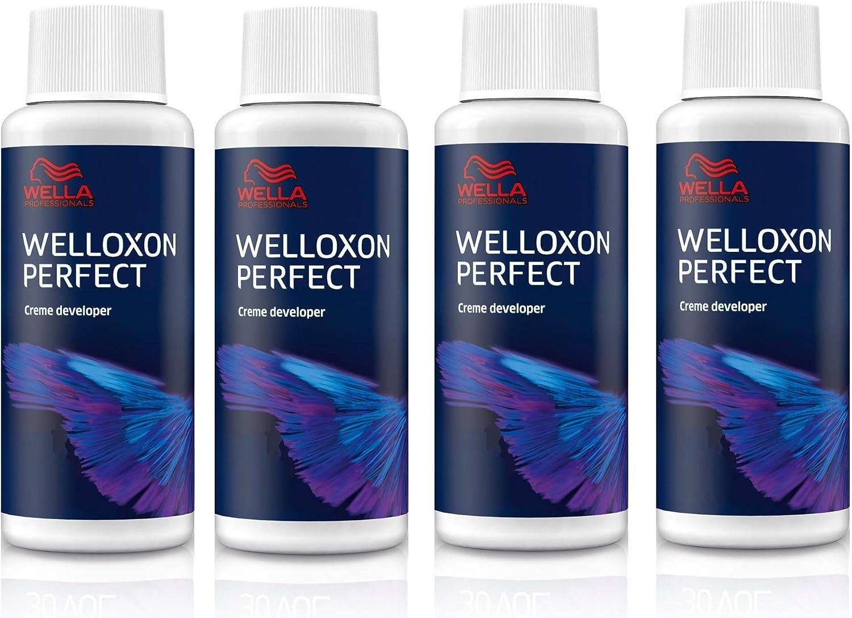 Peróxido de agua Welloxon Perfect de Wella Professionals, 4 unidades, 6% H2O2, 60 ml