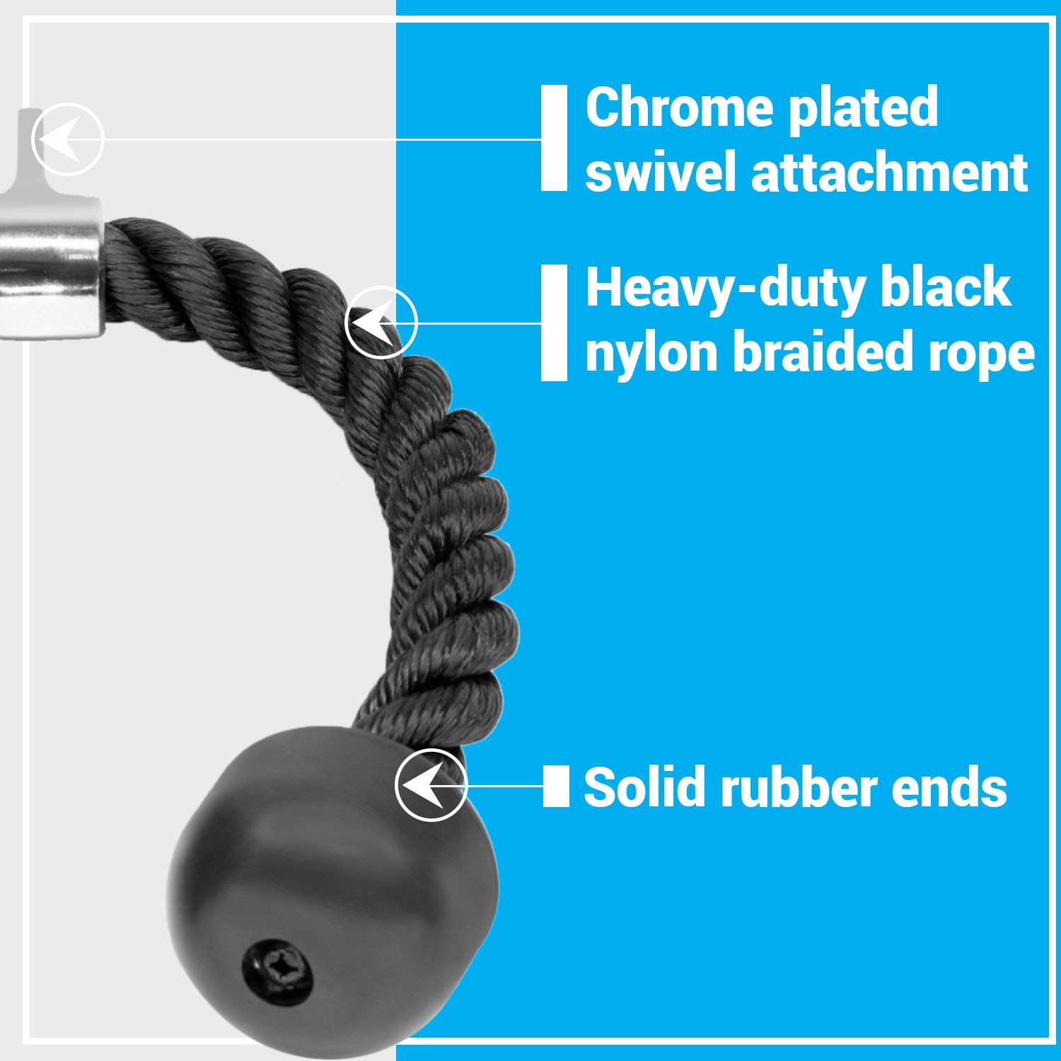 A2ZCARE Combo Tricep Press Down Cable Attachment | Multi-Option: Double D Handle, V-Shaped Bar, Tricep Rope, Rotating Straight Bar (V Handle + Tricep Rope) by A2ZCARE (Image #7)