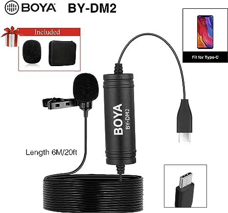 BOYA DM2 - Micrófono omnidireccional de lavalier con Clip, USB ...