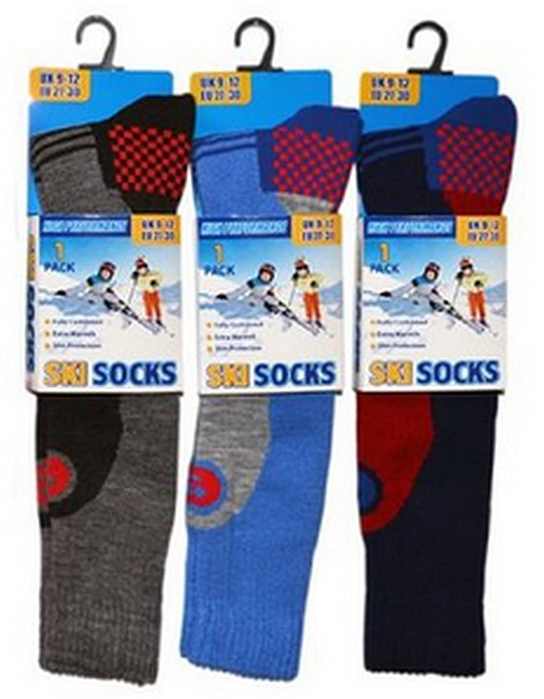3 Pack Childrens/Boys High Performance Ski Socks With Extra Cushioning, Shin Protection, Assorted Colours, UK: 9-12, EUR: 27-30