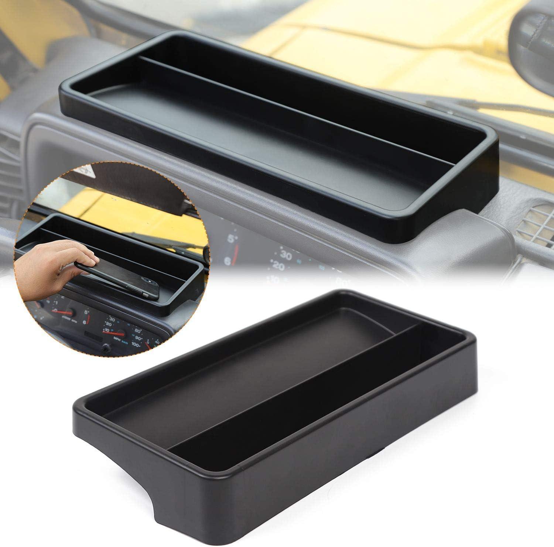 JeCar TJ Dash Tray, TJ Dash Console Tray Storage Box Organizer for Jeep Wrangler TJ 1997-2006, Secure Items & Create Usable Space on Dash