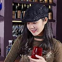YUANOMM Ivy Cabbie Flat Beret Cap for Women,Flat Top Short Elegant Lace Beret Modern Korean Fashion Trend Painter Hat National Wind Forward Cap Casual Wild Cap