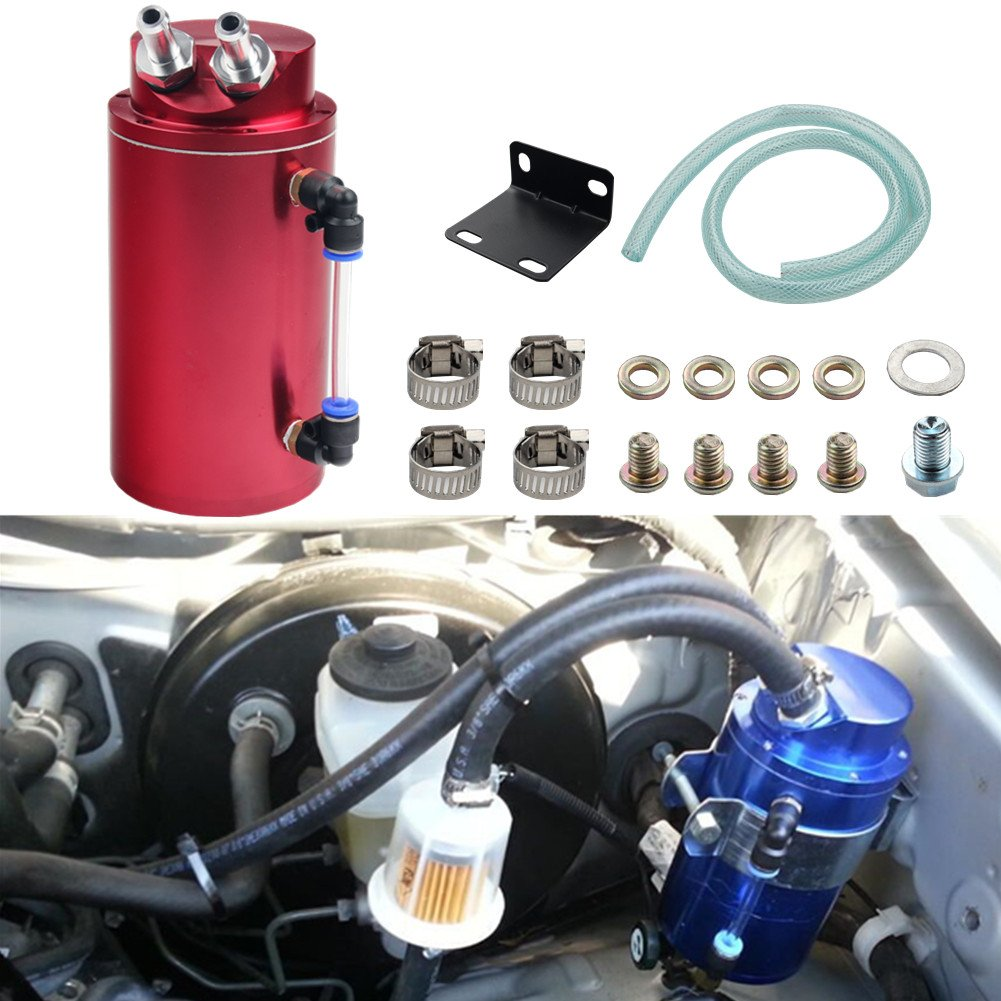 JUDING Universal Engine 750ml Round Racing Oil Catch Can Tank Oil Reservoir Tank (Silver)