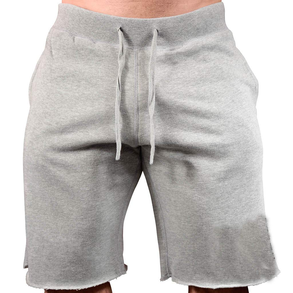 Forthery Men's Joggers Casual Workout Shorts Drawstring Pockets Workout Pants(Grey,US Size L = Tag XL)