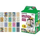 Fujifilm instax Mini Instant Film (20 Exposures) + 20 Sticker Frames for Fuji Instax Prints Travel Package