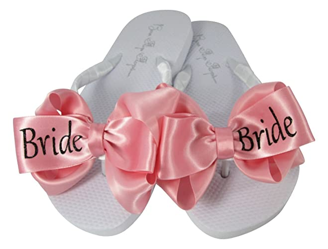 c7f077fc0faf Amazon.com  Customizable Colors - Bride Handmade Glitter Bow Flip Flops for  the Bridal Wedding  Handmade