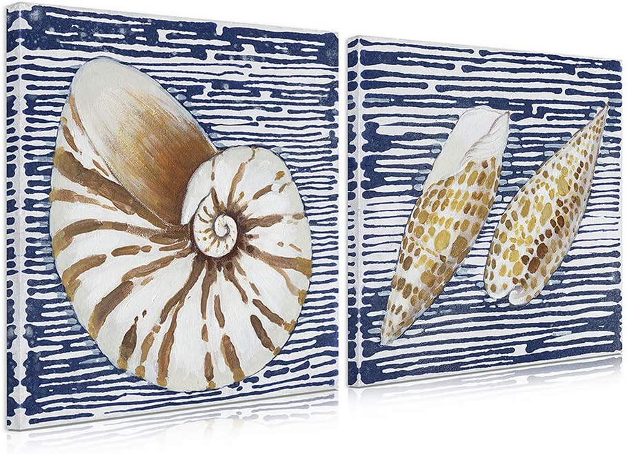 Amazon Com B Blingbling Seashell Bathroom Decor Beach Room Decor Wall Panels For Interior Wall Decor With Frame Easy To Hang 2 Pieces 20 X20 X2panels Posters Prints