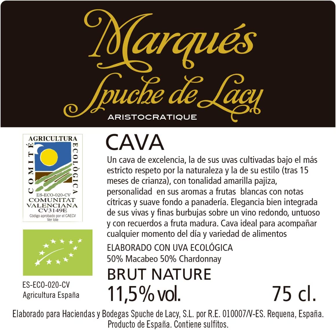 Cava Brut Nature Ecológico de la prestigiosa bodega Marqués Spuche de Lacy (1 botella): Amazon.es: Alimentación y bebidas