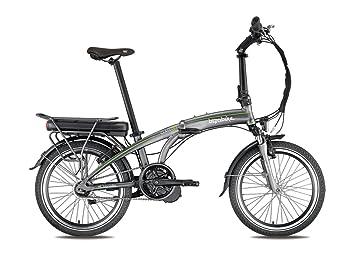 Bicicleta eléctrica plegable A-Class gris/verde – Batería: Li-Ion Panasonic