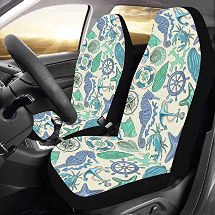 Artsadd Sea Anchor Seahorse Fishes Fabric Car Seat Covers Set Of 2 Best Automobile