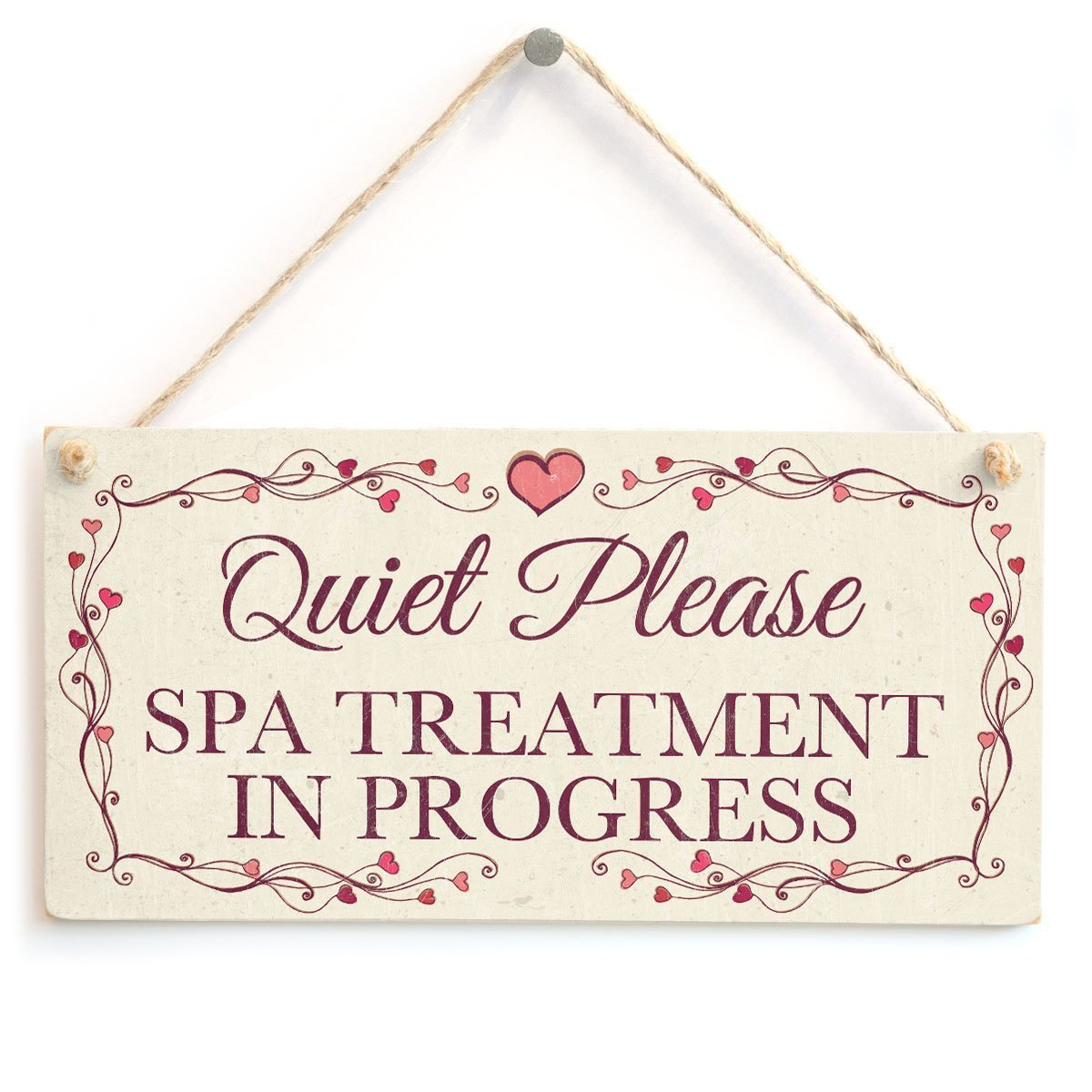 Meijiafei Quiet Please Spa Treatment In Progress - Pretty Love Heart Frame Design Sign/Plaque 10''x5''