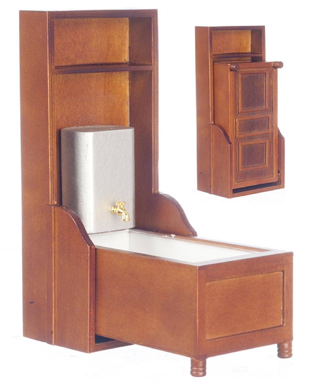 Amazon.com: 1:12 Scale Walnut Murphy Victorian Bathtub #D6408: Toys ...