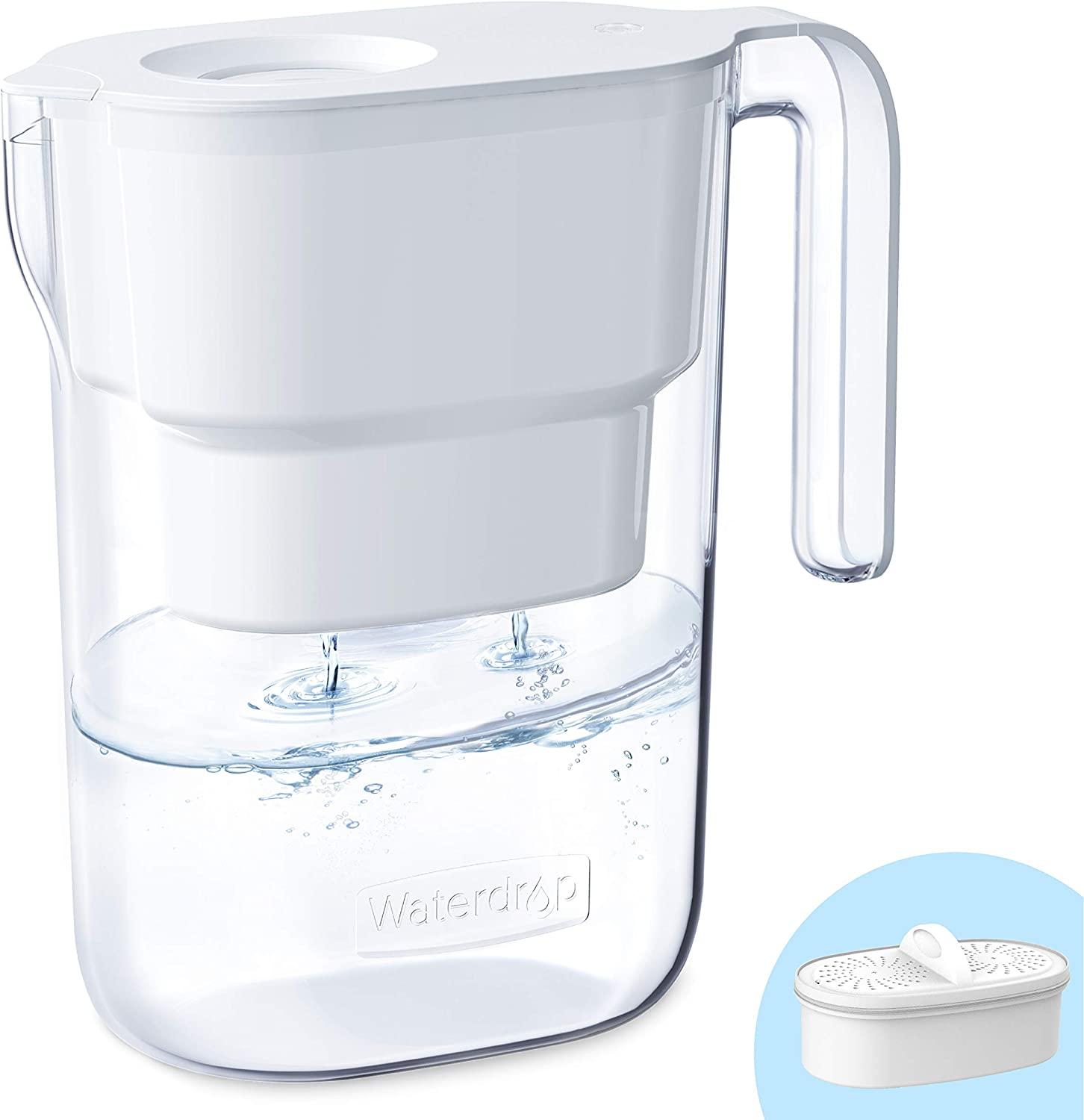 Waterdrop De-Lovely 5-Cup Water Filter Pitcher with 1 Filter, Long-Lasting (200 gallons), 5X Times Lifetime Filtration Jug, Reduces Lead, Fluoride, Chlorine and More, BPA Free, White