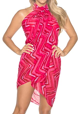 42ac90f248f06 LA LEELA Women s Beachwear Bikini Wrap Cover up Swimsuit Dress Sarong 9 ONE  Size at Amazon Women s Clothing store