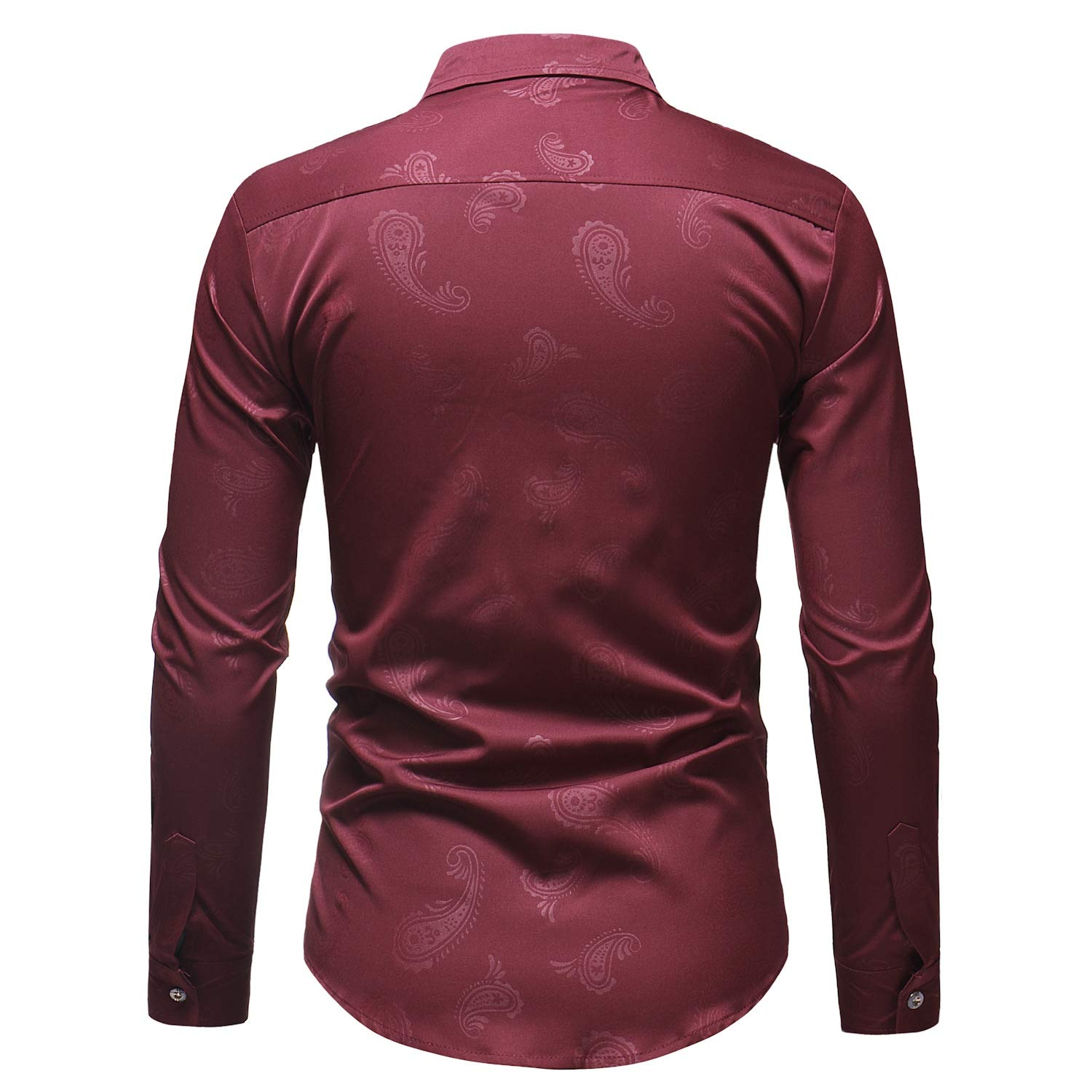 YUNY Men Fit Long-Sleeve Button Down Vogue Floral Print Dress Shirts Wine Red M