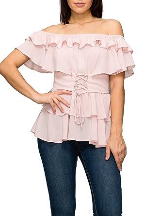 ba4e61d383c Women's Casual Off Shoulder Short Sleeves Ruffled Summer Peplum Blouse  (Small, Dusty Pink)