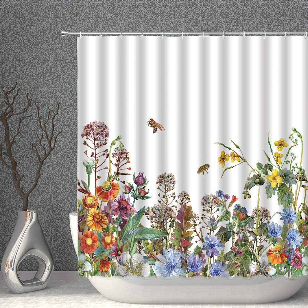 AMNYSF Watercolor Flower Decor Shower Curtain Spring Plant Floral Colorful Wildflowers Garden Nature Landscape Fabric Polyester Bathroom Curtains with Hooks 70x70 Inch