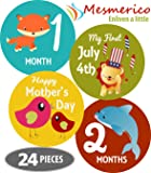 Mesmerico 24 Baby Monthly Holiday Stickers for Boy Girl's First Year Month Age Growth Milestones - Month Stickers for Baby Onesie Belly Animal Stickers - Unique Baby Shower Newborn New Parents Gifts