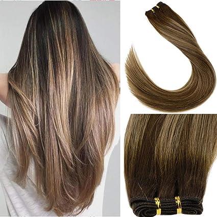 LaaVoo 14 Pulgada Bundles Hair Extensiones Marron Scuro Balayage Ombre Caramelo Rubio #4/27/4 Sewing Extensiones de Mujer Pelo Natural Sedoso Recto ...