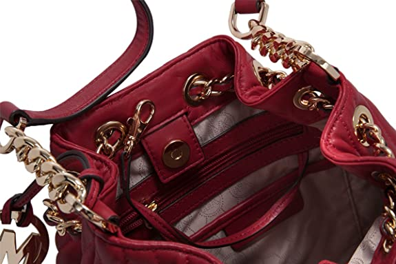 db1a9661a572 Amazon.com: Michael Kors Frankie Medium Quilted Dark Red Leather Drawstring  Messenger: Shoes