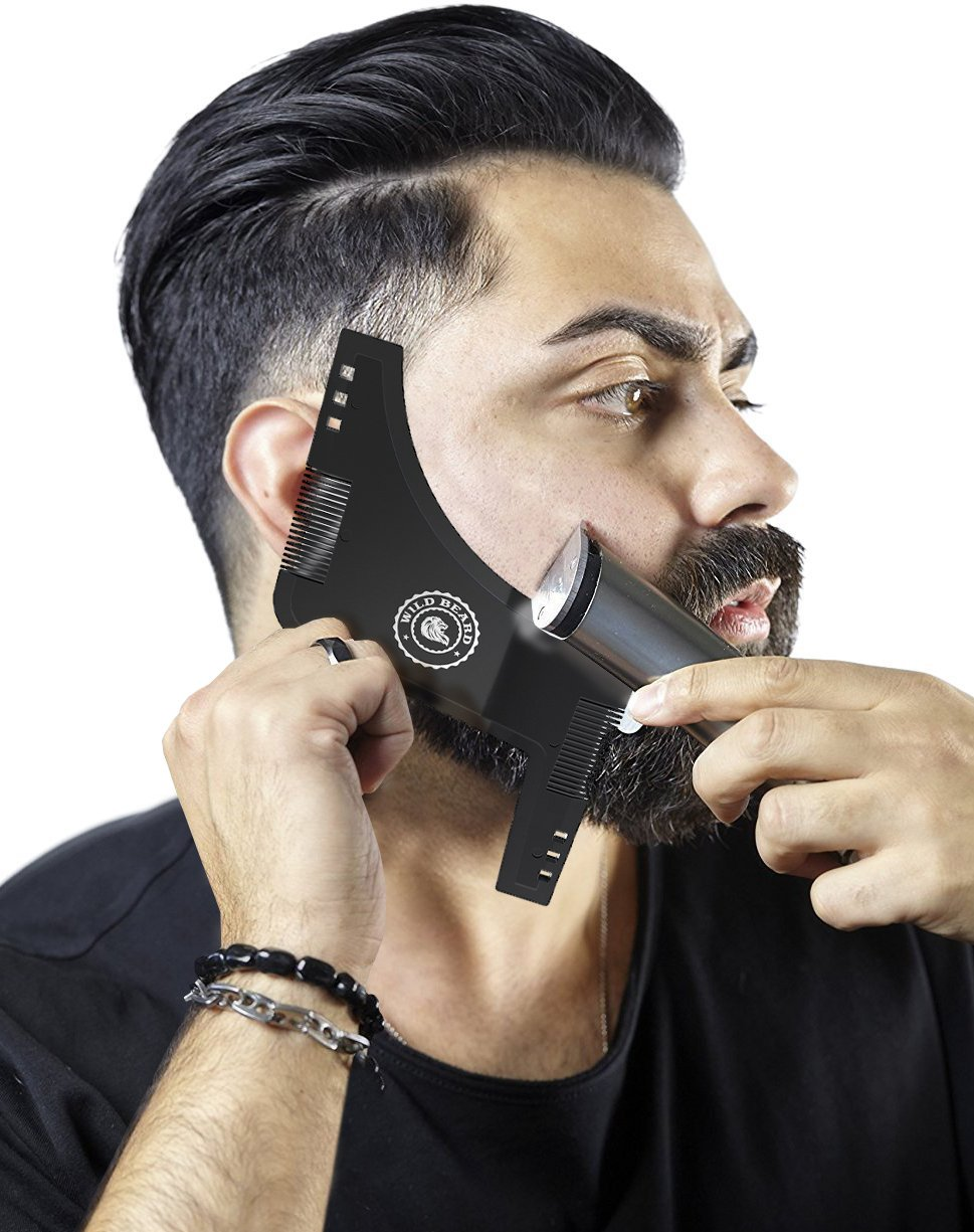 Beard Shaping Tool - Set of 2 - Black & Transparent - 8 in 1 Facial Hair Trimming Guide and Comb Grooming Shaper - Best Stencil for Curve/Step/Straight Cut, Sideburns, Mustache, Goatee