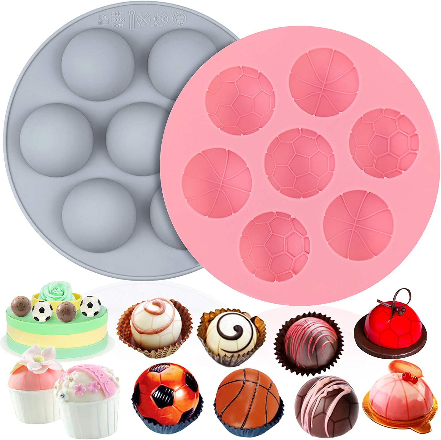 Palksky 2 Packs Semi Sphere Silicone Molds, Half Ball Shaped Cocoa Bombs Mold Non Stick Baking Molds for Making Football Hot Chocolate Bomb Basketball Dome Mousse, Jelly Pudding, Cake Decorating