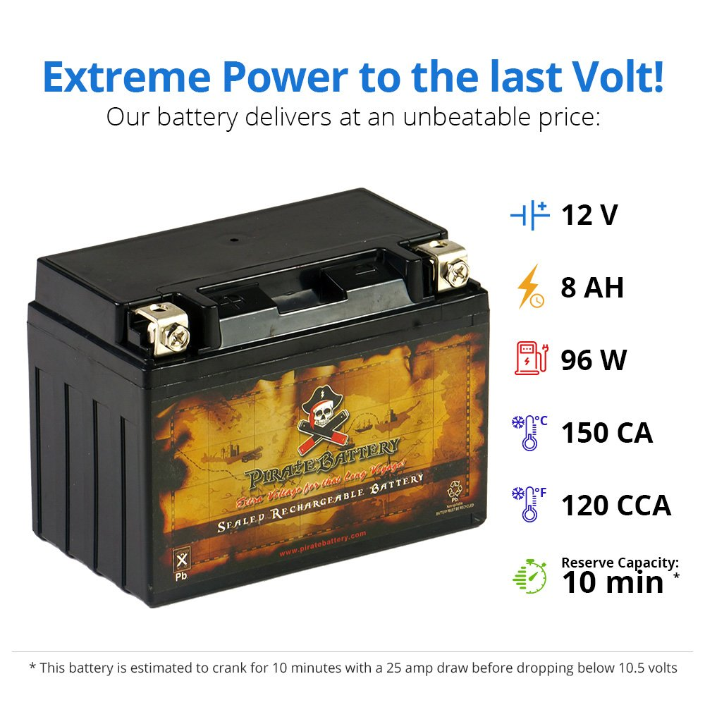 Chrome Battery YTX9-BS Power Sports Battery