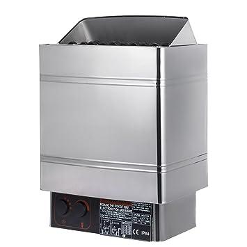 Guellin 400V Estufa Eléctrica para Sauna Calentador de Sauna 380-415V Sauna Stove con Controlador Externo sin Enchufe (6 KW con controlador externo): ...