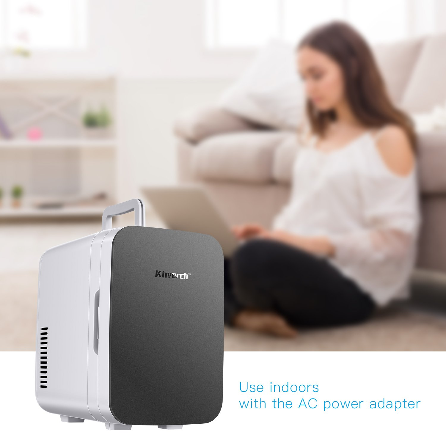 Kinverch Mini Fridge Electric Cooler and Warmer (6 Liter / 6 Can Plus) :110v AC / 12V DC Portable Thermoelectric System,,For Car /Home /Kichen/Junket/Outdoor for frinds / parents/yourself (Silver) by Kinverch (Image #6)