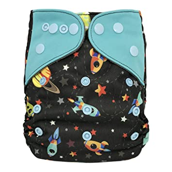 Baby Washable Ecological Diaper – with 2 Bamboo Inserts for Cloth Diapers (Rockets)
