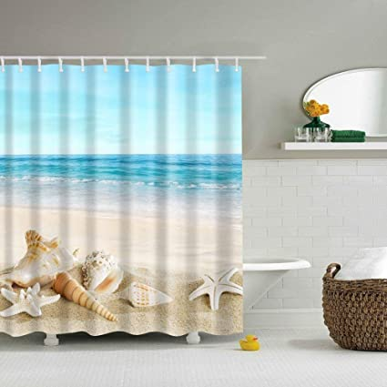 LanMent Shellfish Seawater Blue Sky Shower Curtain Beach Theme Polyester Fabric Waterproof Mildew Resistant