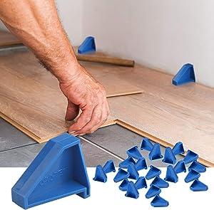 Flooring Spacers,Laminate Wood Flooring Tools,Compatible w/Vinyl Plank, Hardwood & Floating Floor Installation etc,Hardwood Flooring w/1/4 Gap,Special Triangle Stay in Place (24pack)
