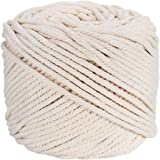 Ialwiyo Macrame Cord 3mm 109Yards 100% Cotton, No Industrial Treatment(Not Dyed), Natural Color Handmade Soft 4 ply…