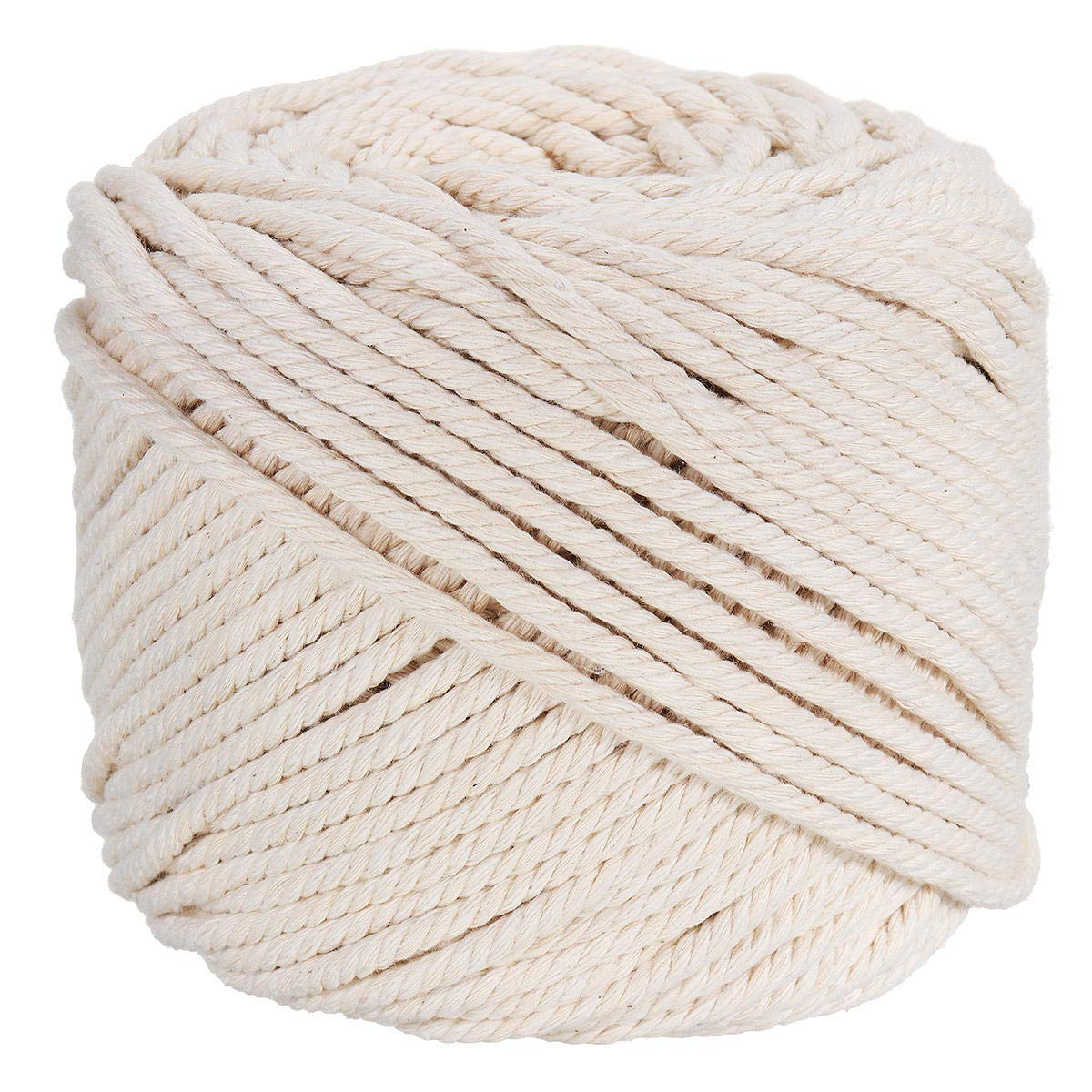 Ialwiyo Macrame Cord,No Industrial Treatment(Not Dyed),Natural Color Handmade Soft 4-Strand Cotton Cord Rope for Macrame,Wall Hanging,Plant Hanger,DIY Craft Making,Knitting (3mm x 100m(About 109 yd)